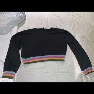 Cropped Black / Rainbow cuffed Sweatshirt